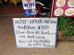No rat, cat, dog, monkey or worm served here - Humane dining in Siem Reap,  Cambodia (ashabot) Tags: street travel signs cambodia cities streetscenes