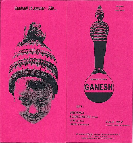 "Patrice Heyoka - Flyer 14/01/1994 - ""Ganesh"" (Paris) <a style=""margin-left:10px; font-size:0.8em;"" href=""http://www.flickr.com/photos/110110699@N03/12205472155/"" target=""_blank"">@flickr</a>"
