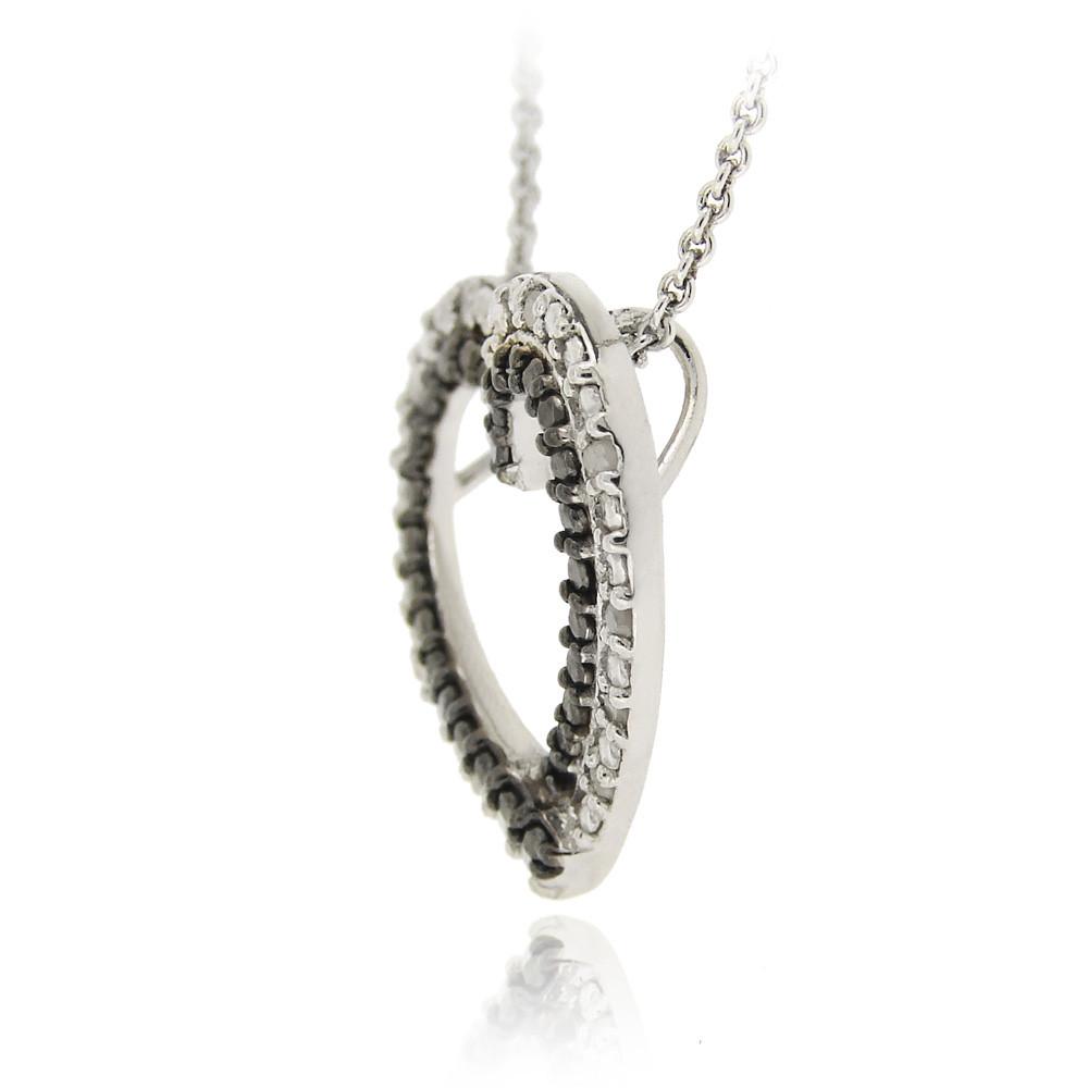925 Silver 1 8ct Black & White Diamond Heart Necklace