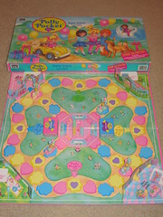 Vintage 1994 Polly Pocket Party Board Game (Suki Melody) Tags: blue party dog game cute bird art car animals rose set cat vintage balloons toys swan board adorable plastic presents polly bluebird 1994 figures mattel invites 90s complete invitations pockets roseart