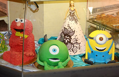 Character Cakes at Ruthy's in Chelsea Market, NYC (SA_Steve) Tags: nyc cute cake fun cool elmo barbie ccc monstersinc mikewazowski chelseamarket minions minion despicableme