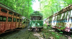 Trolley Graveyard (Forsaken Fotos) Tags: abandoned rusty forgotten crusty abandonedtrolley trolleymuseum