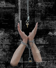 hand chain lock (rockindave1) Tags: hands key arms lock bondage chain tied chainedup adobecs5