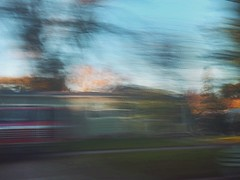 8/16 (nikaylasnyder) Tags: motion blur long exposure swirl landscape trees homes houses mcdonalds blue skies fall autumn filter