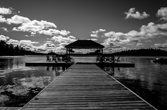 Untitled (Howard Yang Photography) Tags: resort northernontario ontario bw blackandwhite lake ricohgr deck dock