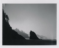 Morning Mist at Hug Point (Celina Innocent) Tags: fuji instant film pack blackandwhite land 250 oregoncoast shore ocean beach rocks silhouette