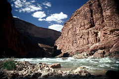 35-073 (ndpa / s. lundeen, archivist) Tags: nick dewolf nickdewolf color photographbynickdewolf 1970s 1973 1972 film 35mm 35 reel35 arizona northernarizona southwesternunitedstates canyon marblecanyon grandcanyon coloradoriver raftingtrip raftingexpedition rafting river riverrafting clouds water whitewater rapids light shadows