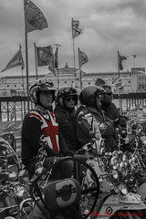 Mods 28.08.2016 (CNThings) Tags: mod mods modern scooter lambretta vespa innocdenti brighton hove sussex cnthings chrisneal nikon d7100 pier brightonpier palacepier flag cross stgeorge unionjack red monochrome rally weekender modweekender
