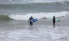 Stripes at the beach (mootzie) Tags: surfboards blue surfers waves sea beach aberdeen girl boy