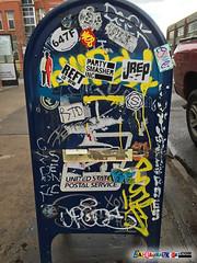 mailbox street stickers Denver (labeauratoire) Tags: denver colorado denverstreetart streetartdenver graffiti streetart onthestreetindenver onthestreetin stickerbomb stickergame