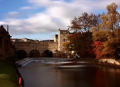 Pulteney Bridge (Sarah Marston) Tags: bath somerset pulteneybridge pulteneyweir bathweir clouds bridge trees longexposure autumn boat sony alpha a65 october 2016 sunlight