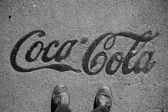 """Coca-Cola"" (D A Baker) Tags: ft county allen cement hammered beat worn feet reflection shiney cocacola coca cola coke pop soda sign signage metal embedded concrete sidewalk abandon empty vacant urbex urban fort wayne indiana boots shoes leather fujifilm x100s street photography"