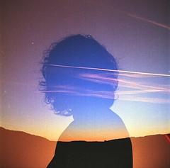 Bullet the blue sky (Eric Lfgen) Tags: double exposure film analog analouge mf medium format 120mm yashica mat 124 kodak ektar inside outside woman