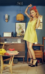 The yellow housewife ft. Ellie Rousou: dancing (SpirosK photography) Tags: ellierousou vintage retrosexual athens greece   pinup pinupphotography spiroskphotography veniaandreou alvina alvinahairstyles newskinclothes newskin elisavetlatsiou portrait yellow housewife dancing rousou