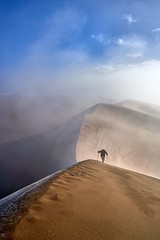 Two Steps Forward - One Step Back (W_von_S) Tags: greatsanddunesnationalpark greatsanddunes nationalpark colorado us usa america amerika vereinigtestaaten southwest alamosa sonnenaufgang sunrise fog mist nebel reif rauhreif sand aufstieg 2016 herbst september autumn wvons werner sony outdoor landscape landschaft panorama paysage paesaggio wolken clouds sky ice eis frozen cold gefroren kalt wow
