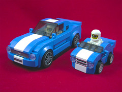 Modded Mustang & Mini Mustang (Unijob Lindo) Tags: lego ford mustang gt modded mini micro enginerd enginerds sports car vehicle tire speed champions helmet old chibi comparison blue white stripe 2016 slope slopes curved mighty micros microfighters fig figure grille wheel mod dont talk me or son ever again wacky races