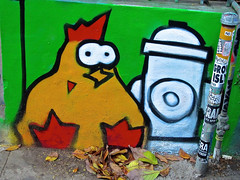 Rooster and Hydrant, San Francisco, CA (Robby Virus) Tags: sanfrancisco california sf ca bayarea rooster chicken fire hydrant mural wall street art alley mission district