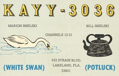White Swan & Potluck - Lakeland, Florida (73sand88s by Cardboard America) Tags: qsl cb cbradio vintage qslcard swan florida kettle