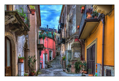 Street & Pots (Kevin, from Manchester) Tags: architecture building canon1855mm clouds godfather hdr harbour historical italy kevinwalker messina panorama panoramic photoborder port sea sicily sky
