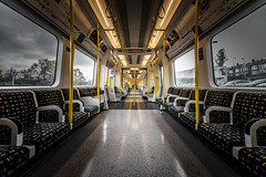Infinity Tube (Sean Batten) Tags: metro tube subway london england unitedkingdom gb londonunderground districtline wimbledon yellow carriage nikon d800 1424 city urban lights seats