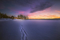 One Step Ahead (lonekheir) Tags: winter norge norway footsteps snow ice cabin sunset forest
