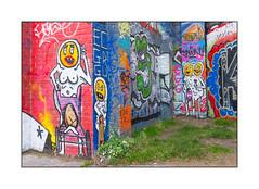 Street Art (Egg Cru, El Dahkoh), East London, England. (Joseph O'Malley64) Tags: eggcru eldahkoh streetart urbanart graffiti eastlondon eastend london england uk britain british greatbritain art artists artistry artworks murals muralists brickwork bricksandmortar pointing blockpaving electricalwiring weeds grass earth urban urbanlandscape aerosol cans spray paint