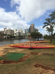 Ala Wai Canal (2) (tompa2) Tags: kanal kanot waikiki honolulu hawaii höghus palm