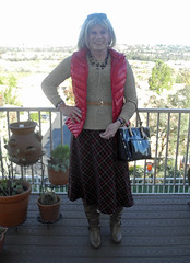 Long Riding Skirt with Boots (krislagreen) Tags: tg tgirl transgender transvestite cd crossdress skirt sweater boots highheels black red tan vest blond femme feminized feminization
