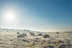 Haybales and Sunstar (mikeyp2000) Tags: morning frosty landscape sky hay rural frost a99ii bales farm location field cold clouds