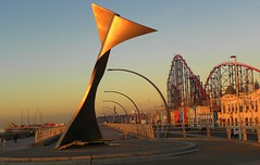 Golden light (Eddie Crutchley) Tags: europe england lancashire blackpool outdoor sunlight art rollercoaster
