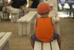 solitude (betsyblue) Tags: music orange hat shirt jack bluegrass days benches pioneer steinbach