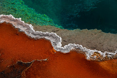 Thermal Colors at Black Pool (gainesp2003) Tags: park orange green nature water colors spring national yellowstone volcanic blackpool thermal emerald hotsprings bacterial bacterialmat