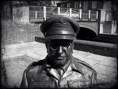 Captain Mainwaring (Leo Reynolds) Tags: bw sculpture statue bench army captain dads publicart 3gs iphone dadsarmy 0sec captainmainwaring mainwaring hpexif lomob publicartthetford iphoneography iphone3gs xleol30x uploaded:by=flickrmobile flickriosapp:filter=nofilter groupiphone xxvisiblexx
