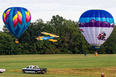 Flying Circus Balloon Day (dfndr13) Tags: morning family hot balloons skydiving fun waco air hotair wwii sunday floating airshow flame va flyingcircus skydiver propane wingwalking stearman stunts aerodrome aerobatics barnstorming barnstormers wingwalker biplanes bealeton