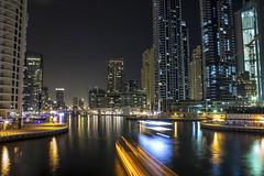 marina lights (Ali Sabbagh) Tags: sea colors night marina canon lights bay dubai skyscrapers towers dxb lightstream