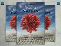 Trance Nation Vol 5 Flyer Template (artbeatdesigns) Tags: pink blue red party sky white black club 3d flyer sand desert stripes render minimal techno blob template futuristic trance