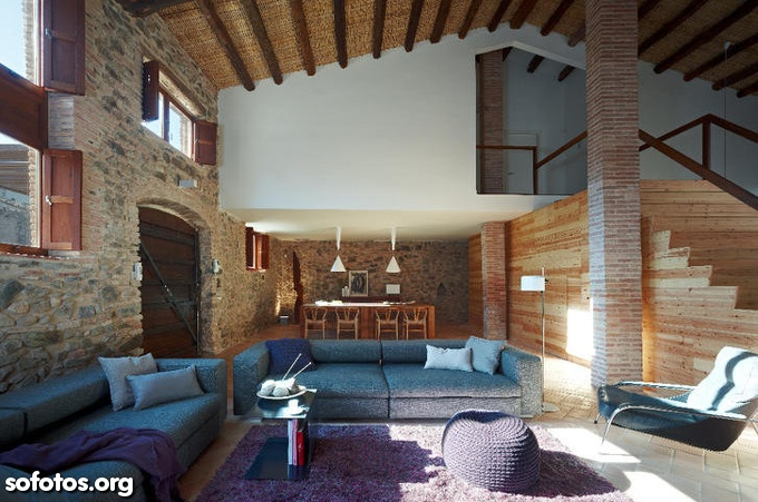 sala de estar decorada rústica