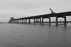 Turnpike Bridge II (K Lyden Photos) Tags: bridge blackandwhite architecture jerseycity bayonne newarkbay a000298