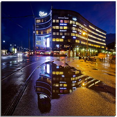 Aker Brigge after rain (Nespyxel) Tags: oslo norway night reflections puddle lights luci riflessi nocturne notte norvegia reflexes pozzanghera akerbrigge nespyxel stefanoscarselli