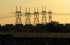 To Live And Die In LA (wait - Brampton) (MrDanMofo) Tags: city sunset sky ontario canada field yellow cn rail powerlines brampton ontariohydro intermodal goreway