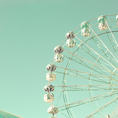 . (_Andrea Carolina) Tags: carnival blue autumn winter red summer sky orange baby white green art fall love home childhood vintage happy photography amusement spring toddler aqua turquoise pastel room nursery mint happiness carousel retro ferriswheel prints decor paleblue placidblue carolinemint