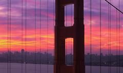 Golden Gate Bridge Widescreen Color Dawn (RZ68) Tags: city morning pink sky panorama color tower 120 yellow skyline clouds sunrise fire dawn lights bay san francisco pano marin north wide battery panoramic velvia telephoto goldengatebridge headlands spencer provia rz67 ggnra e100 rz68