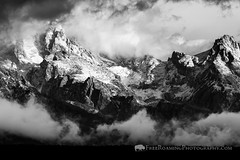 First Snow on Tetons (Free Roaming Photography) Tags: autumn blackandwhite usa mountain snow storm mountains west fall monochrome weather fog clouds season nationalpark mood moody cloudy foggy dramatic jackson western northamerica wyoming teton tetons drama grandteton jacksonhole grandtetonnationalpark teewinot