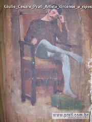 Giulio Cesare Prati Artista circense a riposo acquerello su tela 30x21,5cm Collezione privata