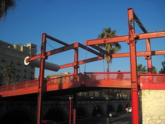 Red metallic bridge in Barcelona (Sokleine) Tags: barcelona bridge metal spain metallic pedestrian catalonia espana pont espagne barcelone catalogne passerelle littoral