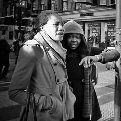 Directions (Leanne Boulton) Tags: life road lighting street city winter girls light portrait people urban blackandwhite bw woman sun sunlight white black cold bus eye texture public girl monochrome face weather contrast canon square mono scotland town blackwhite clothing high movement women pretty crossing traffic post faces arm pavement expression glasgow candid centre low transport young pedestrian center scene sidewalk direction busy human crop portraiture processing area conversation contact gesture bandw footpath