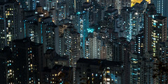 Mid-levels (Wim Storme) Tags: city longexposure night hongkong highrise midlevels lowkey dense