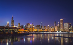 A super cold blue hour in Chicago (olsonj) Tags: chicago skyline illinois searstower adler lakemichigan bluehour willistower polarvortex