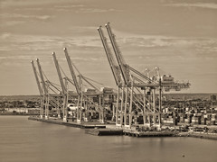 Seaport Cranes sepia (nfin10) Tags: new york sepia harbor cranes canonpowershot offload canonsx210is canonpowershotsx210 nfin10
