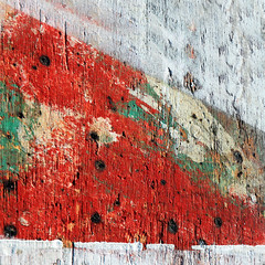 Junk yard sexy (tanakawho) Tags: red abstract paint board nail squareformat junkyard tanakawho